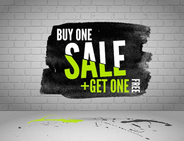Half price sale watercolor banner with splashes of ink on white brick grunge background