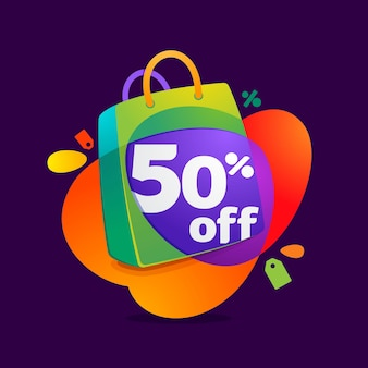 Half price sale with shopping bag icon and sale tag.