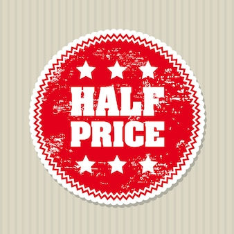 Half price seal over lineal background vector illustration