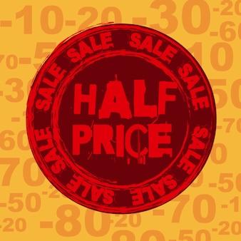 Half price seal over orange background vector illustration