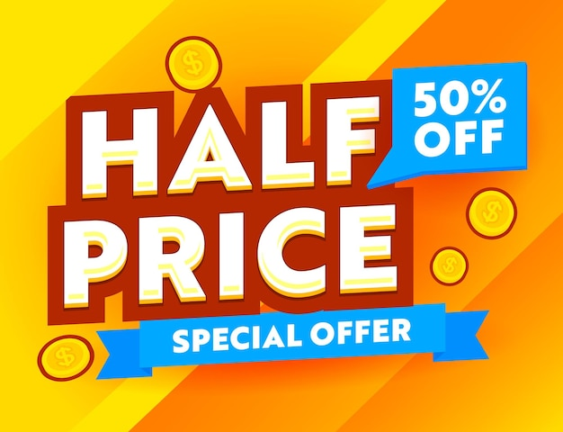 Half price special offer advertising banner with gold coins on yellow background, ad card for shopping discount, social media promo ad, store off poster, flyer or voucher. vector illustration