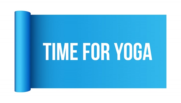 Half rolled yoga mat, fitness and health template.