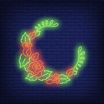 Half-round floral wreath neon sign