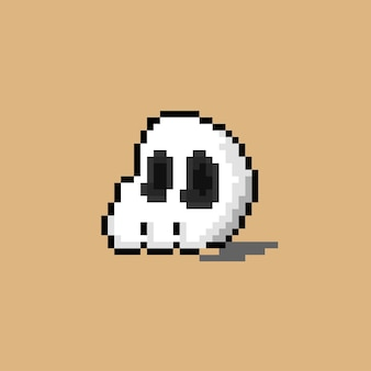 Half skull with pixel art style