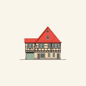 Half-timbered house with red roof