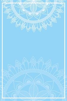 青い色の背景を持つ半分マンダラ