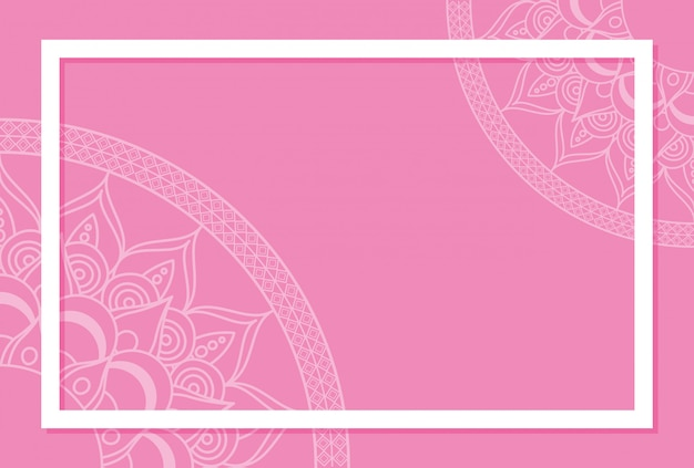 ピンク色の背景を持つ半分マンダラ