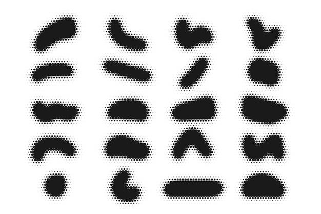 ハーフトーンの抽象的な古典的な形状のコレクション