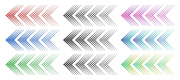 Halftone arrows. color web arrow with dots. colorful dotted moving forward and download symbols isolated  set