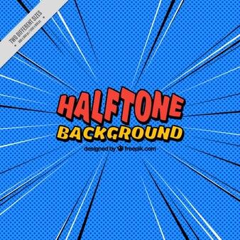 Halftone blue comic background