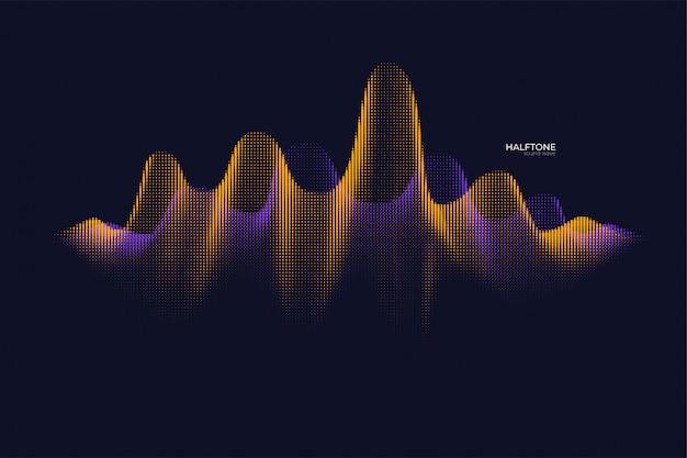 Halftone bright sound wave
