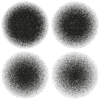 Halftone circle abstract dotwork objects. noisy template. and also includes