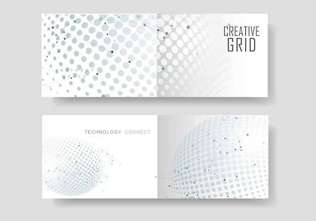 Halftone circle card set with molecule connect