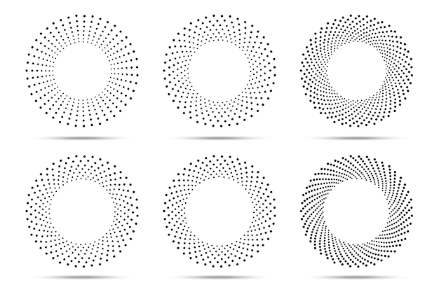 Halftone circle dots frames set.