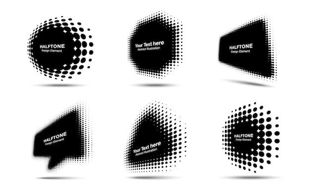 Halftone circle dots perspective logo emblem design element set half tone frame banners  vector