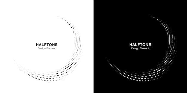 하프 톤 원 점선 프레임 원형 분포 세트. 추상 점 로고 엠블럼 디자인 요소입니다. 하프 톤 원 도트 텍스처를 사용하는 둥근 테두리 아이콘.