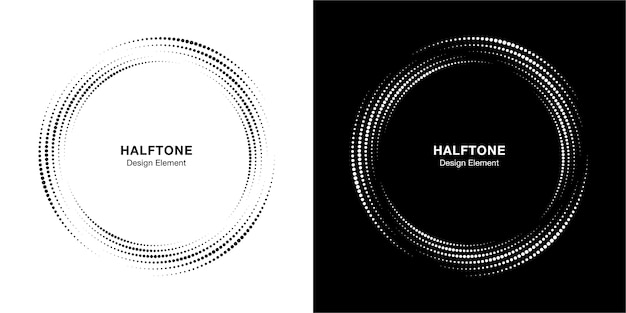 Halftone circle dotted frame circularly distributed set.