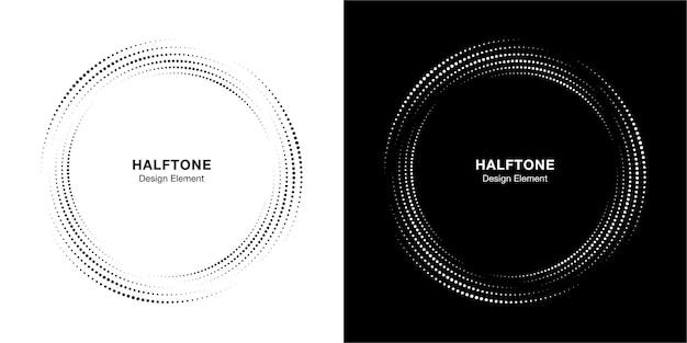 ハーフトーンサークルドットフレーム円形分散セット。