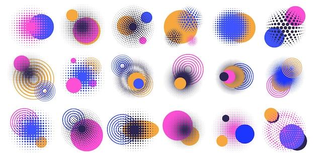 ハーフトーンの円要素。抽象的な幾何学的形状、丸いハーフトーンドットグラデーションデザイン要素