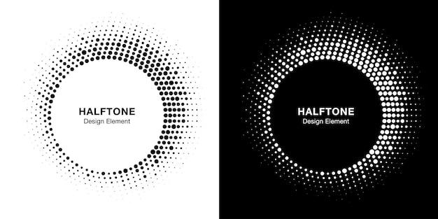 ハーフトーンサークルフレーム抽象ドットデザイン要素。ハーフトーンサーキュラーコレクション。