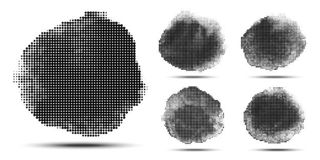 Полутоновый круг картины. гранж пятно с использованием полутоновых точек текстуры. иллюстрации.