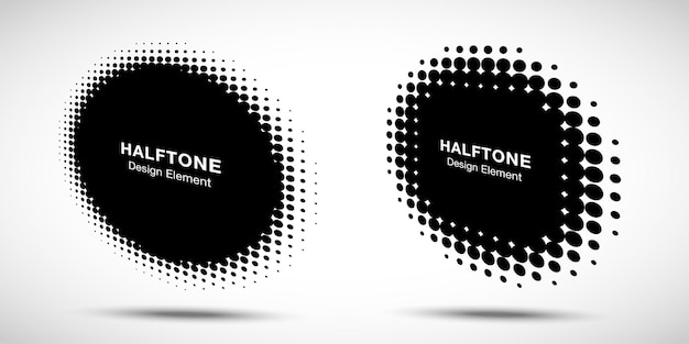 Halftone circle perspective frame abstract dots logo emblem design element.