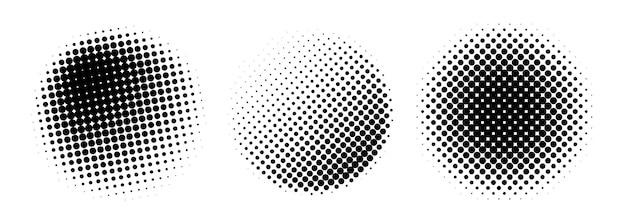 Halftone circles set isolated on white