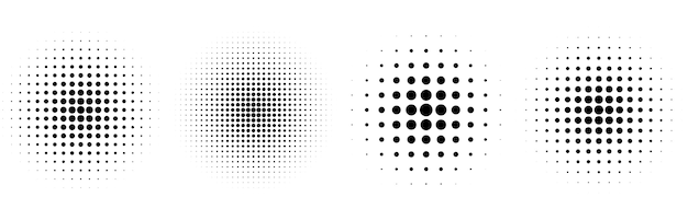 Halftone circular classic background set of four