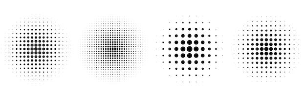 4つのハーフトーン円形クラシック背景セット