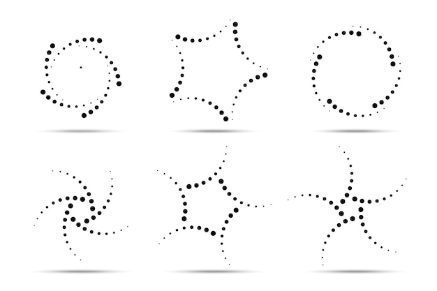Halftone circular dotted frames set circle dots icons isolated on the white background vector