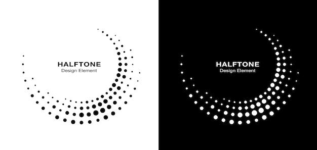 하프톤 원형 점선 프레임 세트입니다. 흰색 배경에 고립 된 원형 점입니다. 의료, 치료, 화장품 로고 디자인 요소입니다. 하프톤 원 도트 텍스처를 사용하는 둥근 테두리입니다. 벡터 bw.