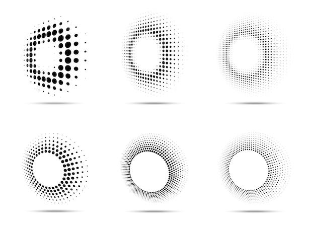 하프톤 원형 점선 프레임 세트 흰색 배경에 고립 된 원형 점 로고 요소