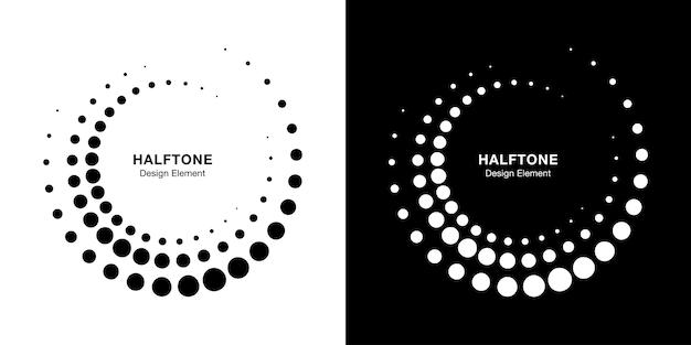 ハーフトーンの円形ドットフレームセット。分離された円ドット