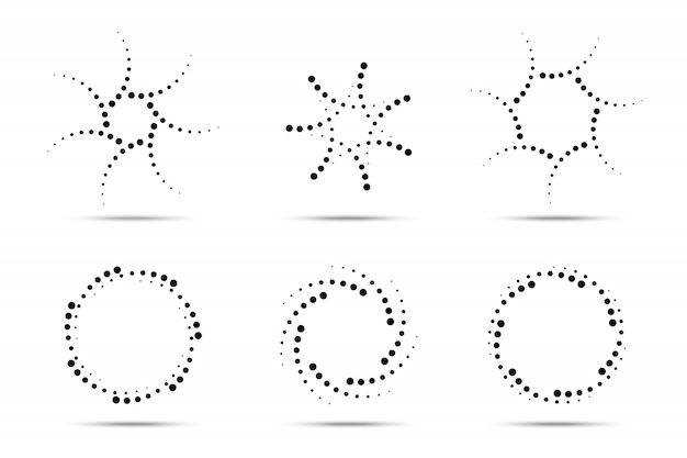 Halftone circular dotted frames set. circle dots