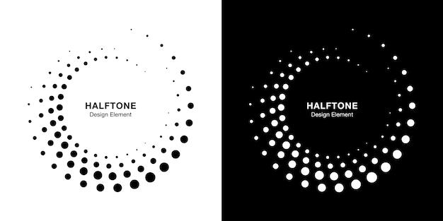 Halftone circular dotted frames set.