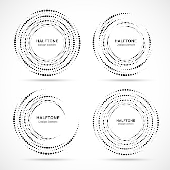 ハーフトーン円形渦ドットフレームセット。