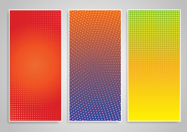 Halftone dot vertical background designs set