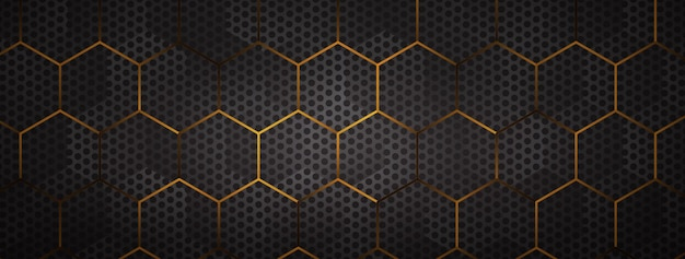 Halftone dot with golden hexagon nets background
