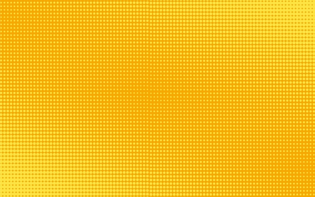 ハーフトーンの点線の背景。丸で黄色のプリント。図。