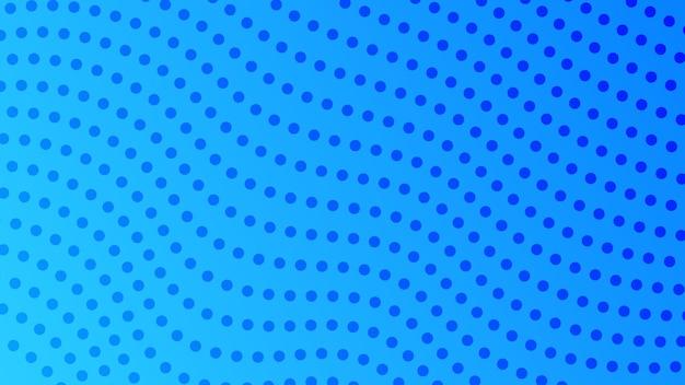 ドットのあるハーフトーンのグラデーションの背景。コミックスタイルの抽象的な青い点線のポップアートパターン。ベクトルイラスト