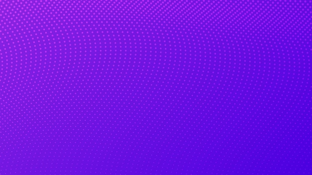 ドットのあるハーフトーングラデーションの背景。コミックスタイルの抽象的な紫色の点線のポップアートパターン。ベクトルイラスト