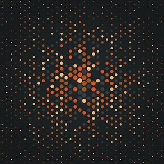 다양한 크기의 노란색 및 주황색 원이 있는 점 배경이 있는 하프톤 그라데이션 배경