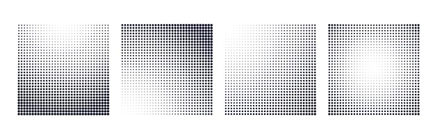 Halftone gradient square shape background set