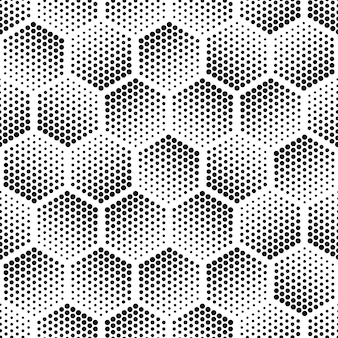 Halftone hexagon shapes seamless pattern abstract technology background