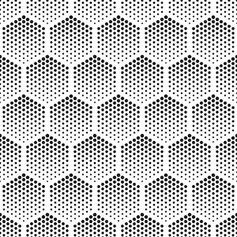 Halftone hexagonal vector seamless pattern