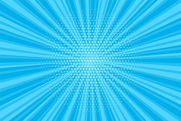 하프톤 팝 아트 배경입니다. 만화 블루 패턴입니다. 벡터 일러스트 레이 션.