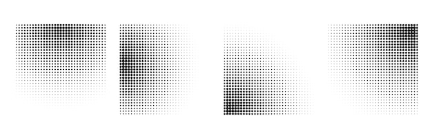 Halftone radial gradient effect background set
