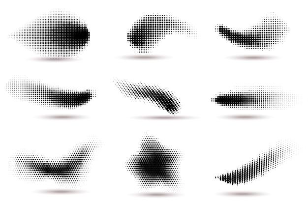 ハーフトーン形状。ハーフトーンの円のドットグラデーションテクスチャを使用した曲線のドットスポット。流体フレックス波効果パターン、グラフィック渦巻きドットベクトルセット