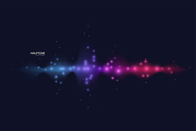 Halftone sound wave with shimmer.