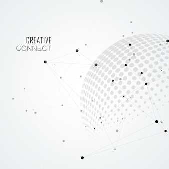 Halftone spheres with world globe and connect  .  communication illustration